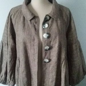 Free People Brown Chambray Coat Jacket - Large